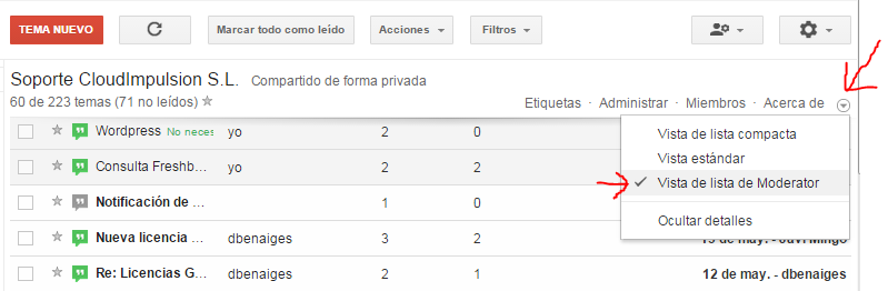 Google Groups - permisos
